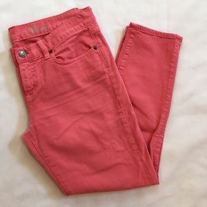J. Crew Pink Toothpick Ankle Jeans